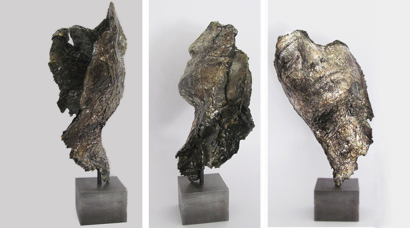 ABHA _ 2014 _ stagno martellato, ossidi di bronzo e resina su ferro _ cm 31 Hammered tin, oxides of bronze  and resin on iron